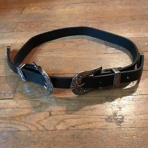 UO Vintage Double Buckle Western Belt, Black